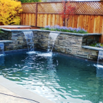 Spa with accent raised planers with cascade features.