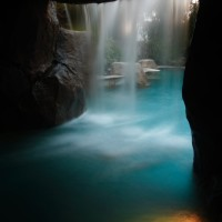View from inside your walk-in cave. Lighting, music, seat bench.