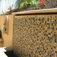 Closeup of waterwall tiled area.
