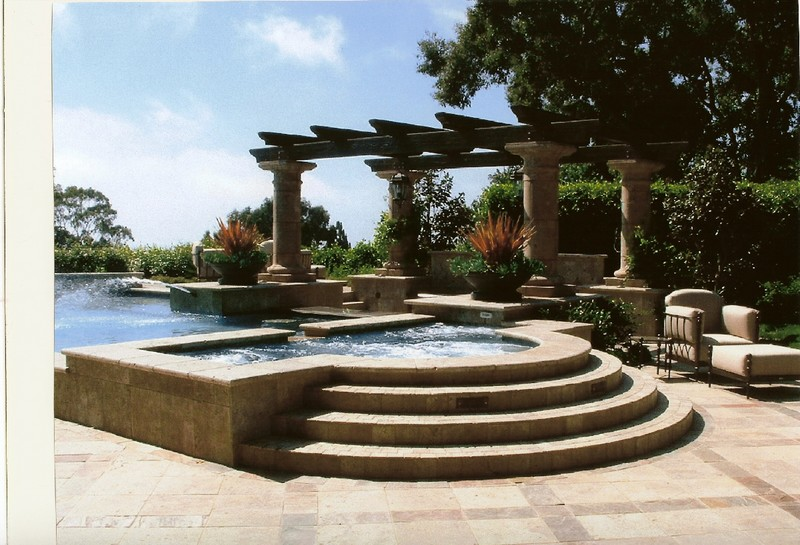Large Grecian Spa With Travertine Coping And Sides And Landing Steps San Diego Swimming Pool