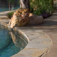 Gold quartzite coping and tile with Palm Springs gold rock accents, tahoe blue aggregate interior pool finish.