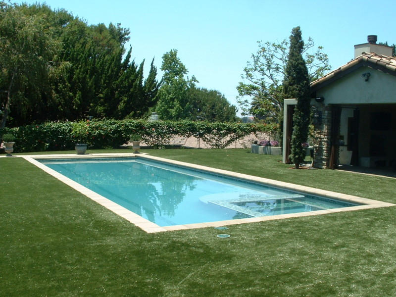 Tuscan Rectangle With Automatic Pool Cover, Precast Concrete Coping Stones,  Glass Tile, And