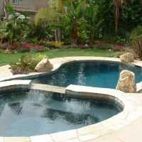 Special features: quartzite coping, tile, raised spa and waterfall, 14-jet spa, Pentair Pool Products, controls,SAM lights, cutom landscaping, natural boulders. Description 	: 	Natural Freeform Oasis