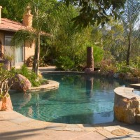 CREATING A PARADISE REQUIRES BRINGING NATURE TO YOUR HOME AND SURROUNDING IT WITH A FLOWING POOL FINISHED WITH NATURAL QUARTZITE COPING, TILE, AND PEBBLE TEC.