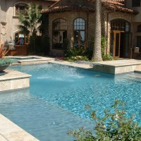 Special Features: Raised travertine deck and coping, glass tile, sconce water spray heads. Description 	: 	Geometric custom. Entire pool raised +18""