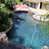 Lagoon style pool, spa, beach entry, swim-up bar, waterfall/grotto, palapa, bbq and fire pit accentuate this beautifully landscaped tropical paradise.