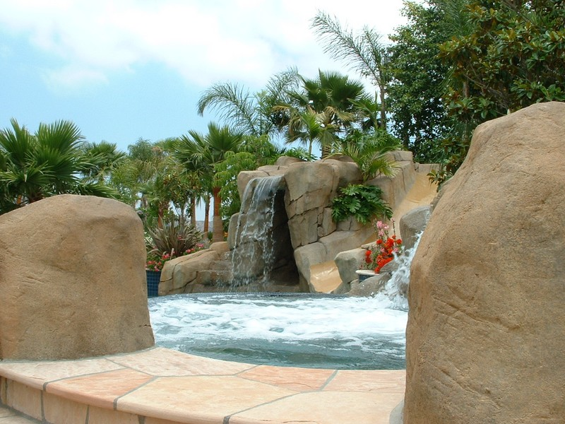 Artificial Rock Boulders With Arizon Flagstone Slide Grotto Jumping Rocks San Diego