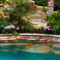 Swim up bar and all the natural stone colors accent nicely.