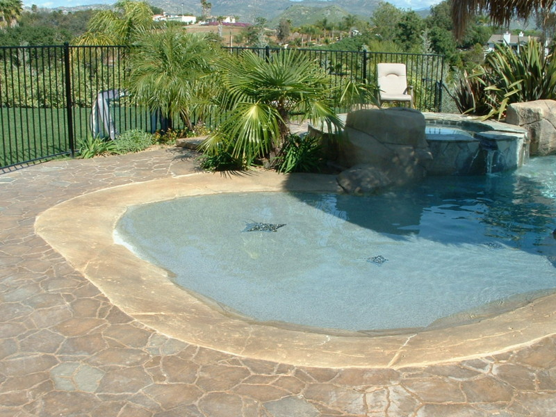 Large Beach Entry With Spotted Eagle Ray Mosaic Tiles San Diego Swimming Pool Builders San