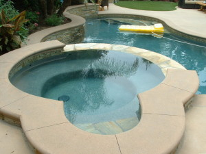 Spa With Poured In Place Colored Concrete Coping San Diego Swimming Pool Builders San Diego