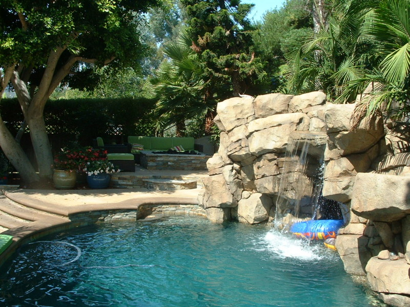 Steps Leading To Back Entrance Of Grotto Cave And Firepit San Diego Swimming Pool Builders