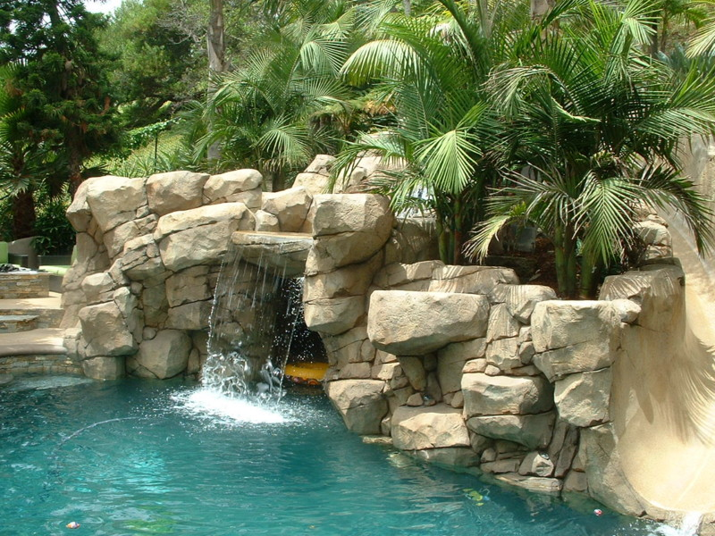 Artificial Rock Waterfall With Jump Boulder San Diego