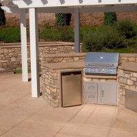 BBQ System with cultured stone facia.