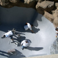 Final plaster for swimming pool remodel.