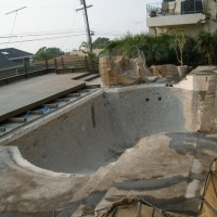After initial demolition. On the way to a complete swimming pool remodel.
