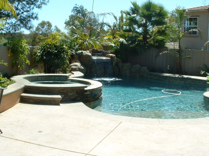 Small Artificial Rock Waterfall And Raised Spa San Diego Swimming Pool Builders San Diego
