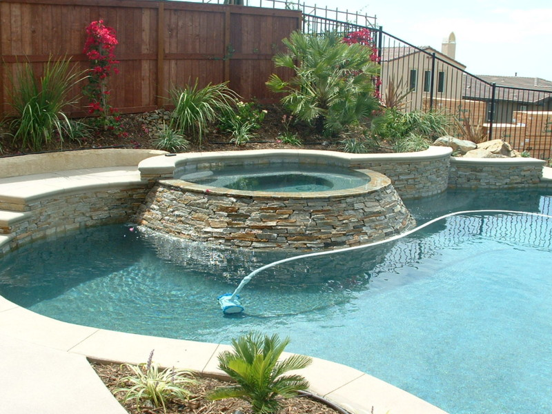 Angled Spa Spill Wall With Stacked Ledger Quartz San Diego Swimming Pool Builders San Diego