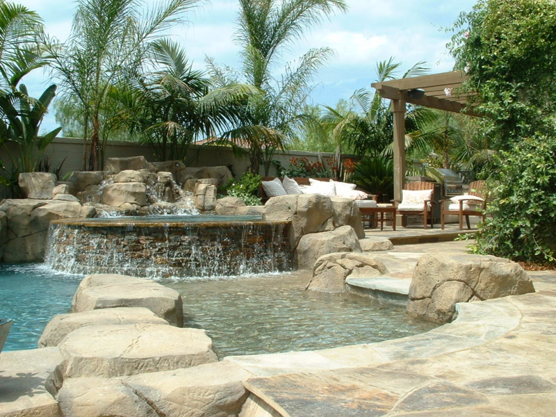 Baja And Beach Entry Lagoon With Artificial Rocks San Diego Swimming Pool Builders San