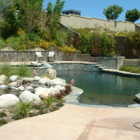 Waterfall and Koi pond with bridge over to spa and raised deck area.