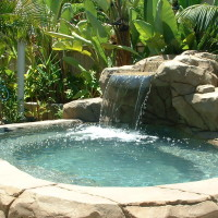 Spa with waterfall