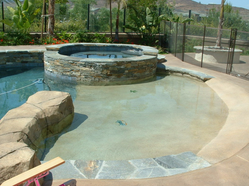 Beach Entry Onto Large Baja With Kid Friendly Accent Boulders San Diego Swimming Pool