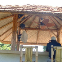 Thatched roof cabana with all the accessories.