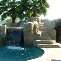 Walk-into your cave, listen to your favorite music, swim out into the warm pool or just relax inside. Steps to the slide are also lighted and safe.