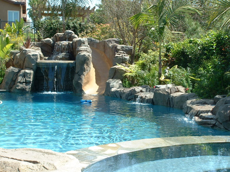 Artificial Rock Slide Grotto And Waterfall View From The Raised Spa San Diego Swimming Pool