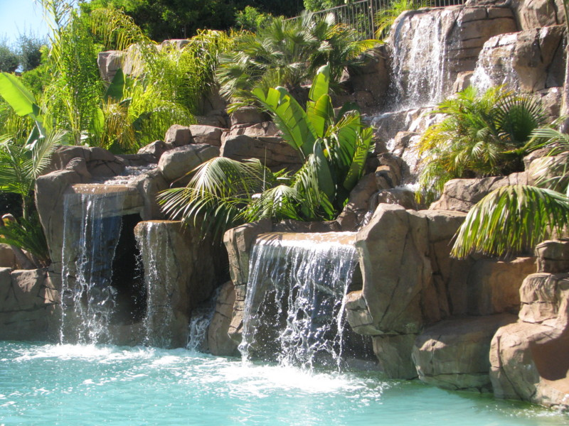 Cascading Waterfalls Lush Landscape Planters Slides And
