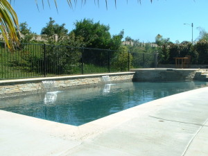 2 39 Shear Decent Waterfalls With Stacked Quartzite Raised Bond Beam San Diego Swimming Pool
