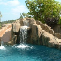 Special features: Artificial and simulated rock slide, cave, grotto, waterfalls. Pebble tec.Carlsbad. Description : Artificial Simulated Rock Slide