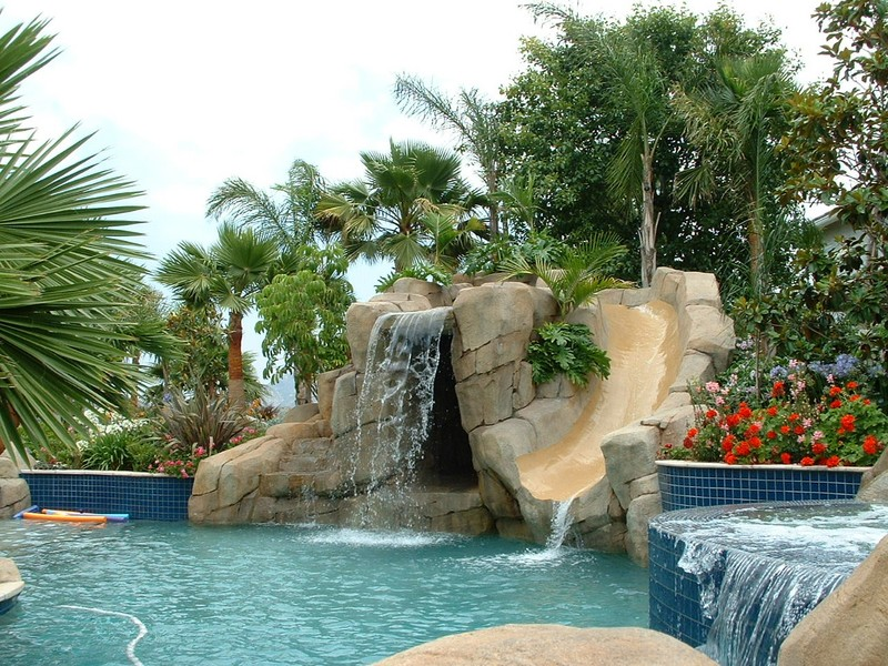 Waterslide And Grotto With 6 39 High Jumping Rocks San Diego Swimming Pool Builders San Diego