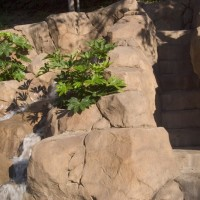 Artificial rock waterfall and steps to 30' waterslide.