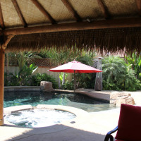 Palapa is thatched on both sides with heavy lumber rope wrapped with lighting, speakers, and anything else you want, even a hammock.