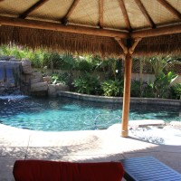 Thatched waterproofed palapa  with room for sofa's , chairs, and shade.