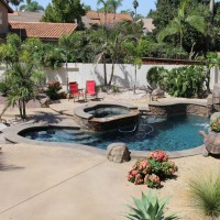 Natural oasis with a drought tolerant softscape.