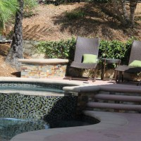 Raised spa deck area creates a private more intimate space.