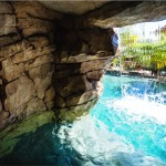 View from inside the waterfall grotto.