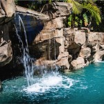 Grotto waterfall view.