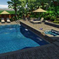 Large lounge areas in this 3D design. Tropical landscaping ideas implemented.