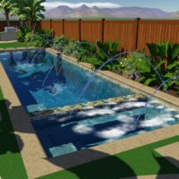 Tropical landscape ideas and deck jets can all be added into your 3D design. Sky is the limit.