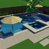 Plenty of room to lounge in the pool under the umbrella in this 3D concept.
