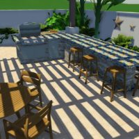 Another 3D design idea for a BBQ and bar area for entertaining.