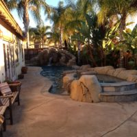 This yard was narrrow but we made this dream of theirs happen. And we even had room to add a spa. Awesome tropical landscape.