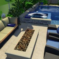 Spa wall serves as a bench  in the fire pit area.