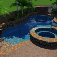 Beached entry and stone accents at spa and pool.