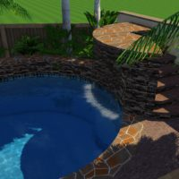 Jump platform with grotto water feature.