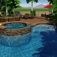 Spa and Pool mesh well with existing yard elements.