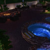 Nightshot of the design. Lets the landscape lighing really show what it can do.