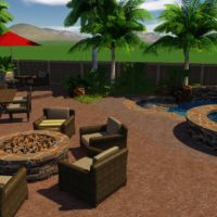 Existing fire pit area with pool and spa combo added.